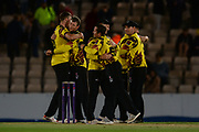 Somerset celebrate the final wicket to dismiss Hampshire for 91 during the NatWest T20 Blast South Group match between Hampshire County Cricket Club and Somerset County Cricket Club at the Ageas Bowl, Southampton, United Kingdom on 18 August 2017. Photo by Dave Vokes.