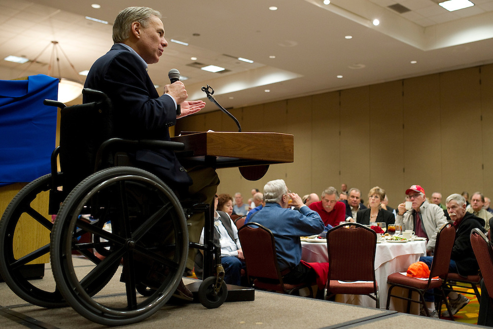 Texas Attorney General Greg Abbott speaks during the Texas State Rifle Association convention on Saturday, February 23, 2013 in Mesquite, Texas. (Cooper Neill/The Dallas Morning News)