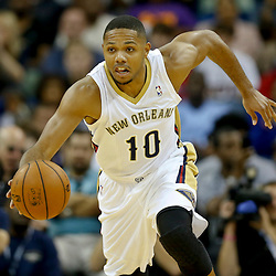 Oct 23, 2013; New Orleans, LA, USA; New Orleans Pelicans shooting guard Eric Gordon (10) against the Miami Heat during the second half of a preseason game at New Orleans Arena. The Heat defeated the Pelicans 108-95. Mandatory Credit: Derick E. Hingle-USA TODAY Sports
