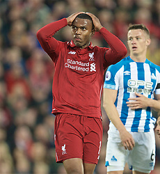 LIVERPOOL, ENGLAND - Friday, April 26, 2019: Liverpool's Daniel Sturridge reacts during the FA Premier League match between Liverpool FC and Huddersfield Town AFC at Anfield. (Pic by David Rawcliffe/Propaganda)