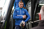 Everton Jordan Pickford arrives off the club coach during the The FA Cup fourth round match between Millwall and Everton at The Den, London, England on 26 January 2019.