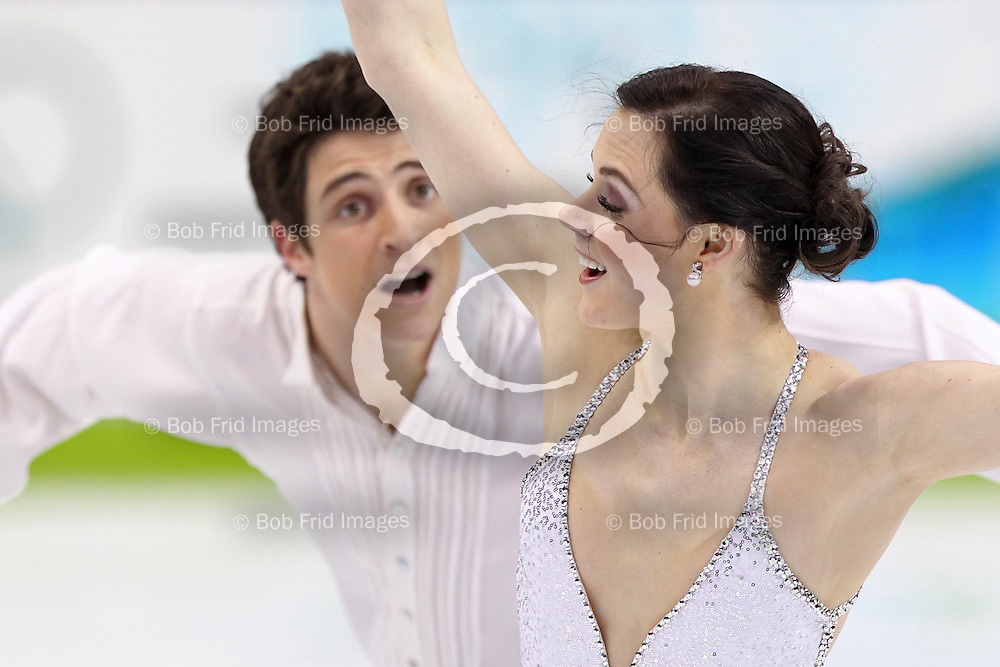 22 February 2010: Gold medalists Canada's Tessa Virtue and Scott Moir during the figure skating ice dance  Free Skate program held at the Pacific Coliseum during the Vancouver 2010 Winter Olympics  in Vancouver,  British Columbia, Canada..