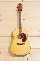 Steel-string acoustic guitar on wood grain wall