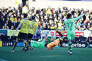 Burton Albion goalkeeper Jon McLaughlin (1) fouls Wolverhampton Wanderers midfielder Dave Edwards (4) and referee blows for a penalty to Wolves during the EFL Sky Bet Championship match between Burton Albion and Wolverhampton Wanderers at the Pirelli Stadium, Burton upon Trent, England on 4 February 2017. Photo by Richard Holmes.