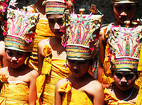 Traditionally costumed girls at a ceremony at Puri Agung in Bali, Indonesia