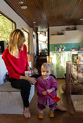 Mail Online: Kim Marren, 31, a model andher one-year-old daughter Willow live on their barge Sunshine, which started out as an empty shell and is now a small but comfortable home currently moored on the Lea Navigation in East London. North Hackney, London, November 02 2018.