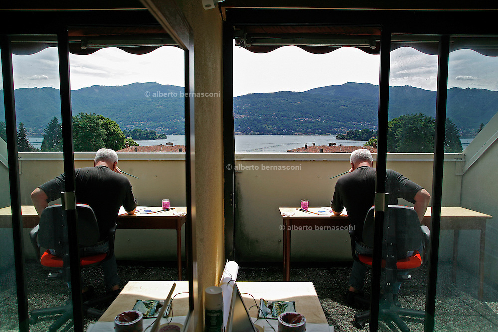 Italy, Maggiore Lake, Isola Madre, the historical and luxurious Hotel Majestic. The artist Bob Wilson preparing a set design for one of his shows in Milan.