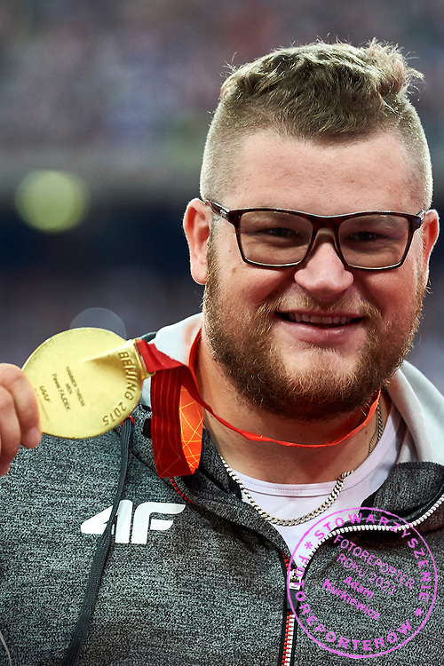World Champion Pawel Fajdek (Agros Zamosc) of Poland won gold medal in men&rsquo;s shot put final during Day Second of the 15th IAAF World Athletics Championships Beijing 2015 at Bird's Nest National Stadium in Beijing, China.<br /> <br /> China, Beijing, August 23, 2015<br /> <br /> Picture also available in RAW (NEF) or TIFF format on special request.<br /> <br /> For editorial use only. Any commercial or promotional use requires permission.<br /> <br /> Adam Nurkiewicz declares that he has no rights to the image of people at the photographs of his authorship.<br /> <br /> <br /> Mandatory credit:<br /> Photo by &copy; Adam Nurkiewicz / Mediasport