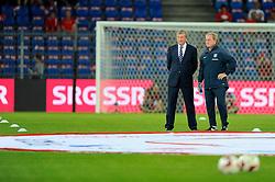 England Manager, Roy Hodgson with England assistant manager, Ray Lewington - Photo mandatory by-line: Joe Meredith/JMP - Mobile: 07966 386802 - 08/09/14 - SPORT - FOOTBALL - Switzerland - Basel - St Jacob Park - Switzerland v England - Uefa Euro 2016 Group E Qualifier