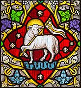 Church of Saint Edmund, Bromeswell, Suffolk, England, UK, Lamb of God, Angus Dei, stained glass window