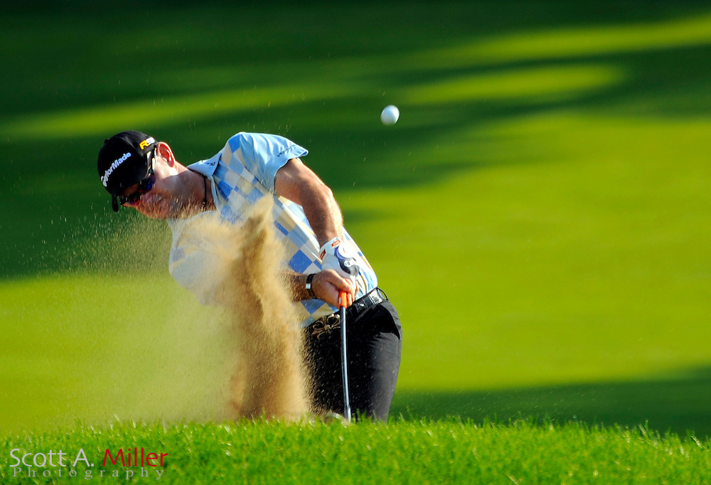Aug 13, 2009; Chaska, MN, USA; Rory Sabbatini (RSA) hits out of a bunker on the 11th hole during the first round of the 2009 PGA Championship at Hazeltine National Golf Club.  ©2009 Scott A. Miller