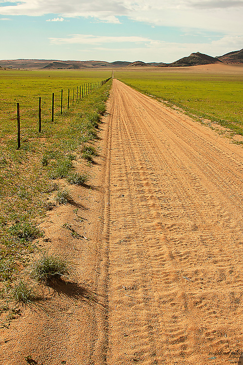 Gravel road, through a green field, disappearing into the distance
