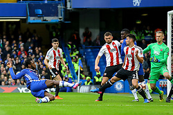 Michy Batshuayi of Chelsea shot at goal is saved on line - Mandatory by-line: Jason Brown/JMP - 28/01/2017 - FOOTBALL - Stamford Bridge - London, England - Chelsea v Brentford - Emirates FA Cup fourth round