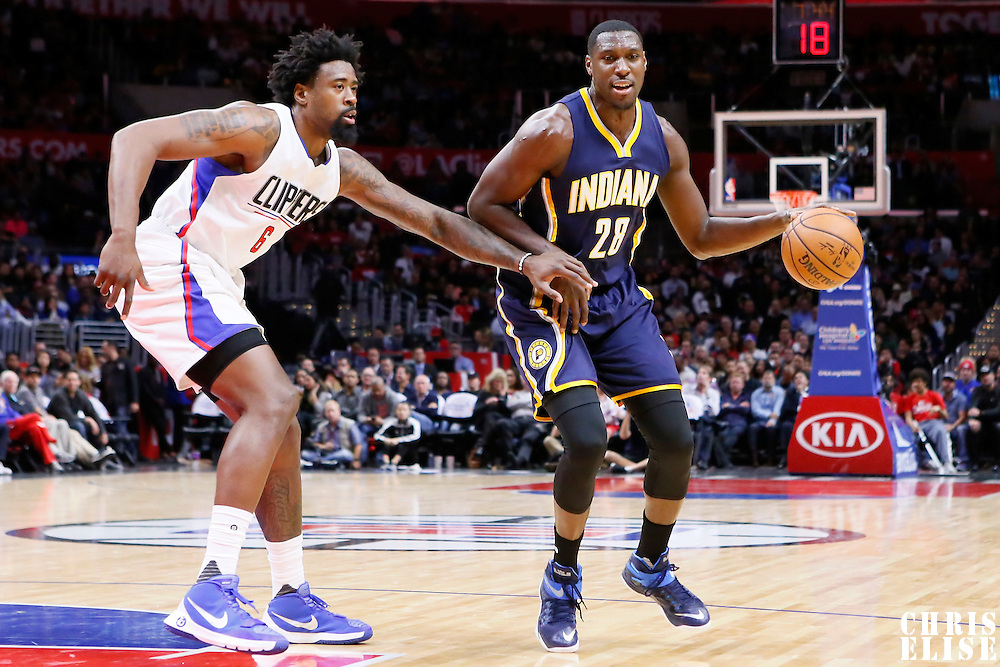 02 December 2015: Indiana Pacers center Ian Mahinmi (28) drives past Los Angeles Clippers center DeAndre Jordan (6) during the Indiana Pacers 103-91 victory over the Los Angeles Clippers, at the Staples Center, Los Angeles, California, USA.