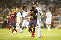 Real Madrid´s Coentrao (R) and Pepe and F.C. Barcelona´s Neymar Jr during the Spanish Copa del Rey `King´s Cup´ final soccer match between Real Madrid and F.C. Barcelona at Mestalla stadium, in Valencia, Spain. April 16, 2014. (ALTERPHOTOS/Victor Blanco)