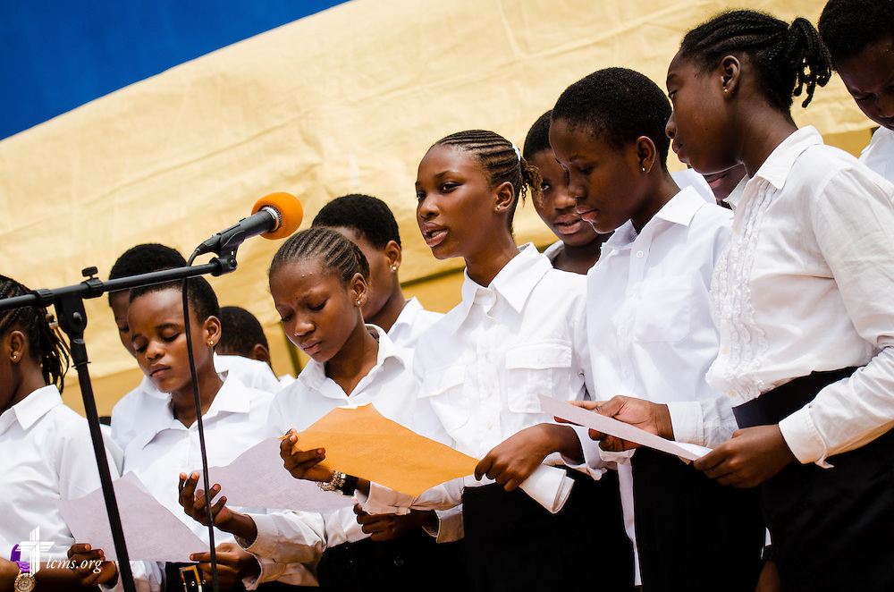 Choir members sing during the service and dedication of the Lutheran Theological Seminary of the Evangelical Lutheran Church of Ghana on Sunday, Feb. 2, 2014, in Greater Accra, Ghana. LCMS Communications/Erik M. Lunsford