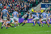 The Natwest Schools Cup Final between Bishops Wordsworth's Grammar School and Warwick School at Twickenham Stadium. London 29 March 2017. Warwick School won 27 -5. The Natwest Schools Cup Final between Bishops Wordsworth's Grammar School (Dark Blue) and Warwick School (Blue and white hoops) at Twickenham Stadium. London 29 March 2017.