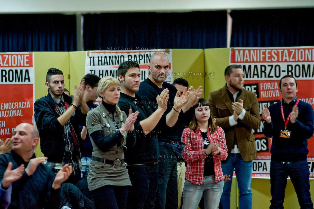Roma 1 Marzo 2014<br /> Riunione  dei partiti dell'ultradestra europea  per un convegno dal titolo &ldquo;L&rsquo;Europa Risorge&rdquo;. Militanti di Forza Nuova .<br /> Rome, March 1, 2014<br /> Meeting of the ultra-right European parties for a conference entitled &quot;Europe is resurrects .&quot; Militants of New Force (Forza Nuova).
