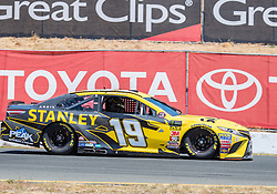 June 22, 2018 - Sonoma, CA, U.S. - SONOMA, CA - JUNE 22:  Daniel Suarez, driving the #(19) Toyota for Joe Gibbs Racing heads down the stretch toward turn 9 on Friday, June 22, 2018 at the Toyota/Save Mart 350 Practice day at Sonoma Raceway, Sonoma, CA (Photo by Douglas Stringer/Icon Sportswire) (Credit Image: © Douglas Stringer/Icon SMI via ZUMA Press)