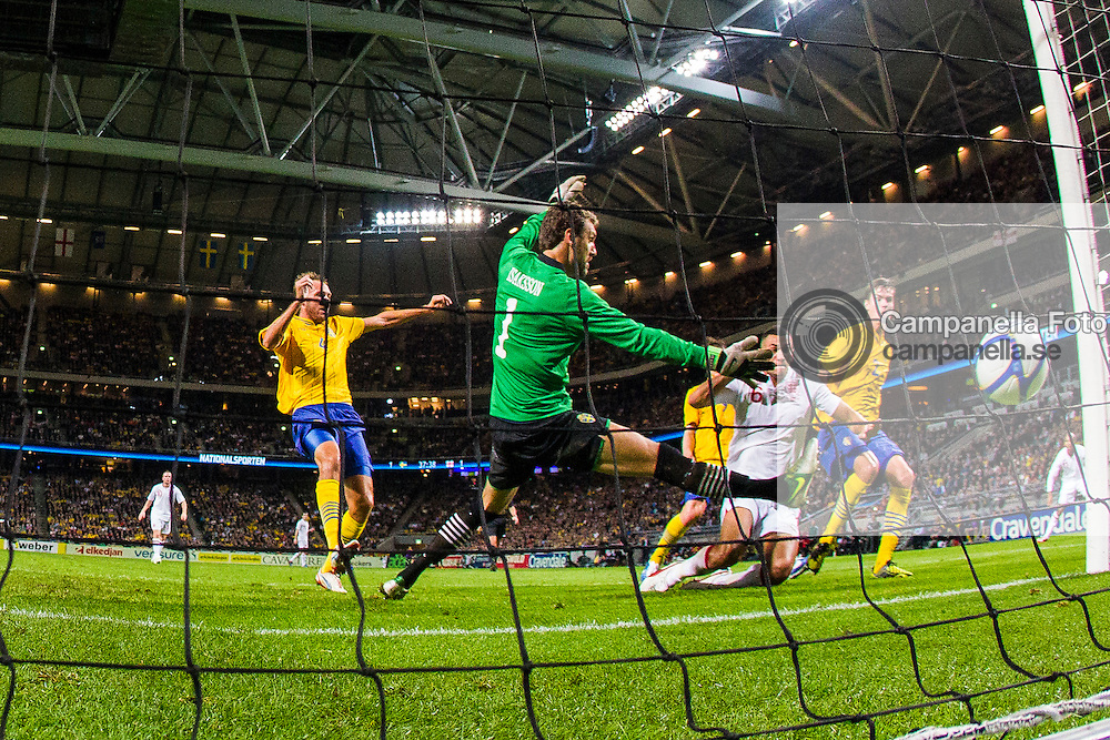 Solna 2012-11-14: <br /> <br /> England 6 Steven Caulker scores the 2-1 goal against Sweden durring an international friendly at Friends Arena. <br /> <br /> (Photo: Michael Campanella / Pic-Agency)