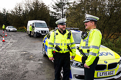 Pictured: Inspector Roddie MacMillan chats to Sergant Andy Gibb<br /> <br /> Police Scotland luanched a series of vehicle checks to be carried out by the Lothians and Scottish Borders Division Road Policing Unit. Inspector Roddie MacMillan oversaw the checks which are part of activity taking place across Scotland this week to help drivers get ready for winter, ensuring their vehicles are maintained and they are aware of the different hazards the changing seasons and weather can bring. <br /> <br /> Ger Harley | EEm 18 October 2016