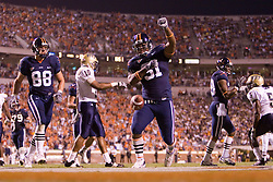 Virginia Cavaliers fullback Rashawn Jackson (31) celebrates after scoring a touchdown.  The Virginia Cavaliers faced the Pittsburgh Panthers at Scott Stadium in Charlottesville, VA on September 29, 2007.