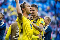 July 3, 2018 - Stockholm St Peterburg, Sweden Russia - FIFA WORLD CUP 2018 Sweden defeated Switzerland 1-0 in St Petersburg, Russia and are ready for the quarter final. VM 2018 i Ryssland. Sverige - Schweiz, 1 - 0, Ã¥ttondelsfinal, match action landslaget. Foto : PETWIX : VM Ryssland 2018 ( Sankt Petersburg ). Sverige-schweiz. 1-0. Albin Ekdal, Mikael Lustig (Credit Image: © WixtrÖM Peter/Aftonbladet/IBL via ZUMA Wire)