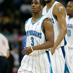 November 22:  New Orleans, LA.Chris Paul #3 and Tyson Chandler #6 of the New Orleans Hornets walk off the court during a timeout against the Oklahoma City Thunder at the New Orleans Arena...The Hornets won 109-97..Tyler Kaufman/Ponchatula Times