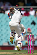 Indian player Mayank Agarwal defends the ball at the 4th Cricket Test Match between Australia and India at The Sydney Cricket Ground in Sydney, Australia on 03 January 2019.