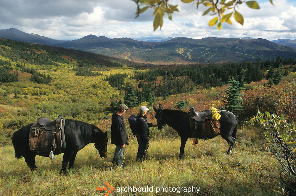 Horses and riders at Faro, Yukon