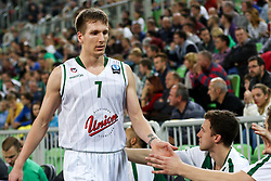 Gregor Hrovat of Union Olimpija during basketball match between KK Union Olimpija Ljubljana and Telekom Baskets Bonn (GER) in Round 3 of EuroCup 2015/16, on October 28, 2015 in Arena Stozice, Ljubljana, Slovenia. Photo by Matic Klansek Velej / Sportida.com