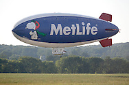 Montgomery, NY - The MetLife blimp Snoopy Two comes in for a landing at Orange County Airport on July 25, 2008.