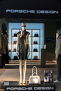 Window display of the Porsche Design shop on corner of Residenzstrasse and Dienerstrasse in Munich, Bavaria, Germany