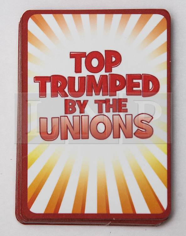 """© Licensed to London News Pictures . 29/09/2013 . Manchester , UK . """" Top Trumped by the Unions """" cards handed out at the Conservative Party Conference . The Conservative Party Conference at Manchester Central . Photo credit : Joel Goodman/LNP **FULL PACK OF 40 TRUMP CARDS AVAILABLE ON REQUEST**"""