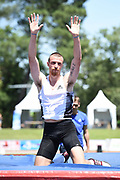 Zach Ziemek (USA) celebrates after clearing 17-2 3/4 (5.25m) in the pole vault  during the decathlon at the DecaStar meeting, Saturday, June 23, 2019, in Talence, France.  Ziemek placed second with 8,344 points. (Jiro Mochizuki/Image of Sport)