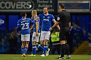 Portsmouth Players Celebrate after Portsmouth Defender, Matt Clarke (5) scores a goal 1-0 during the EFL Trophy match between Portsmouth and Crawley Town at Fratton Park, Portsmouth, England on 3 October 2017. Photo by Adam Rivers.