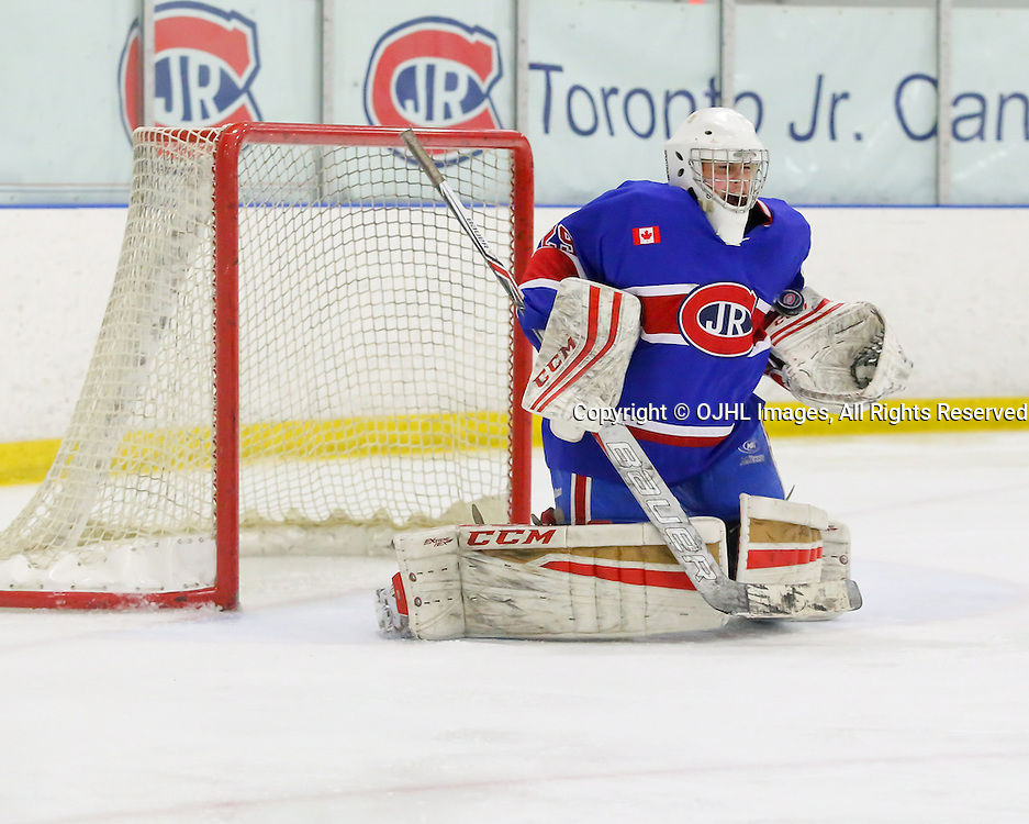 TORONTO, ON - NOV 27,  2016: Ontario Junior Hockey League game between Toronto Patriots and Toronto Jr. Canadiens, Dalton Ewing #29 of the Toronto Jr. Canadiens, makes the save, in the third period.<br /> (Photo by Anna Matthews / OJHL Images)