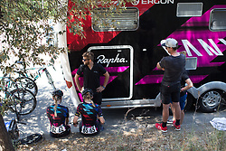 CANYON//SRAM Racing riders prepare for Stage 9 of the Giro Rosa - a 122.3 km road race, between Centola fraz. Palinuro and Polla on July 8, 2017, in Salerno, Italy. (Photo by Balint Hamvas/Velofocus.com)