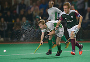 Canterbury's Isaac O'Connor against Surbiton in the NOW: Pension Men's Hockey League Premier Division, Polo Farm, Canterbury, Kent, 22nd November 2014.