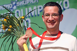 Shooter Rajmond Debevec with bronze medal at welcome ceremony in Olympic City BTC, on August 20, 2008, in Alea Mladih, BTC, Ljubljana, Slovenia. (Photo by Vid Ponikvar / Sportal Images)./ Sportida)