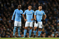 Manchester City's Sergio Aguero (right) looks dejected after seeing his side concede
