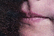 mouth close up with halftone print dots