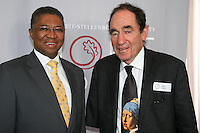 STELLENBOSCH, SOUTH AFRICA- In this file image, Professor Russel Botman, Rector and Vice Chancellor of the University of Stellenbosch, with retired Constitutional Court Judge, Dr Albie Sachs, during the launch of the University of Stellenbosch's Hope Project at the Konservatorium on 21 July 2010. Professor Botman died in his sleep on Saturday 28 June 2014.<br /> Photo by Roger Sedres/Image SA