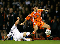 Photo: Tom Dulat.<br /> <br /> Tottenham Hotspur v Blackpool. Carling Cup. 31/10/2007.<br /> <br /> Wes Hoolahan of Blackpool and Steed Malbranque of Tottenham Hotspur with the ball.