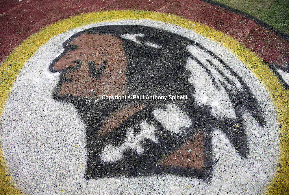 A team logo is painted on the grass for the Washington Redskins 2015 week 13 regular season NFL football game against the Dallas Cowboys on Monday, Dec. 7, 2015 in Landover, Md. The Cowboys won the game 19-16. (©Paul Anthony Spinelli)
