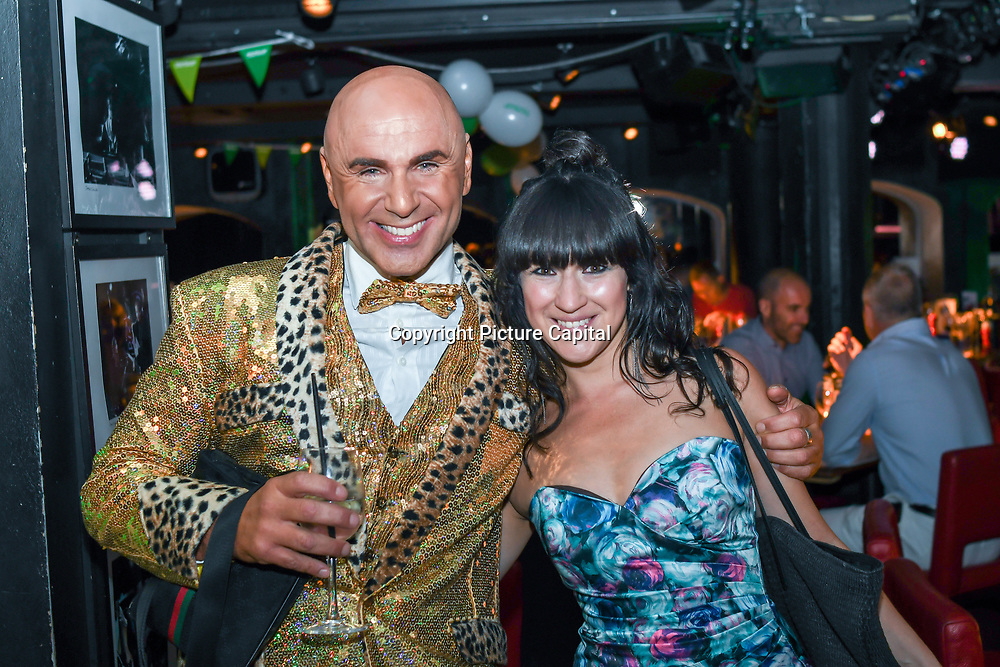 Louise Golbey and Simon Goss of SHOWBIZ  is a singer Perform at the Macmillan - charity gala summer party at Pizza Express Dean Street on 8 August 2018, London, UK.
