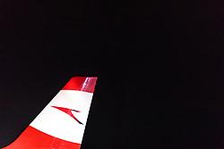 THEMENBILD - das Seitenruder der AUA Maschine des Typs Airbus A319-112 mit der Kennung OE-LDD (Moscow) nach ihrer Landung am Flughafen Innsbruck, aufgenommen am 23. Februar 2018 in Innsbruck, Österreich // the rudder of the Austrian Airlines Airbus A319-112 aircraft with the registration number OE-LDD (Moscow) after landing at Innsbruck airport, Innsbruck, Austria on 2018/02/23. EXPA Pictures © 2018, PhotoCredit: EXPA/ JFK