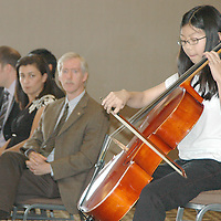 Six Grade student from Lincoln Middle School Caroline Ho, who tied for first place in the Middle School Instrumental Division, performs Sonata in C Major Op.43 #2, 1st Movement on the Cello during the Kiwanis Club of Santa Monica's 62nd Annual Music Scholarship Awards at the Sheraton Delfina Hotel on Thursday, June 16, 2011.<br />