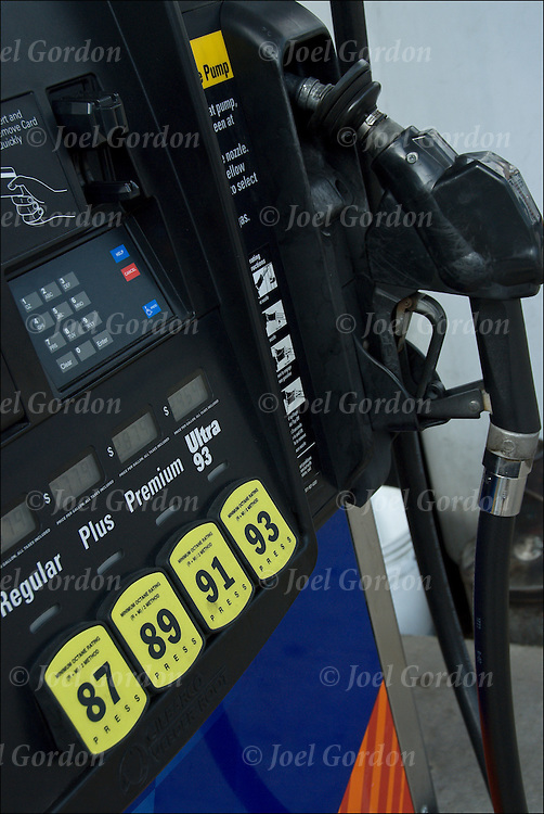 Close up of octane rating on a gas station pump.   During World War I, it was discovered that adding a chemical called tetraethyl lead (TEL) to gasoline significantly improved the gasoline's octane rating. The octane rating is a measure of the resistance of gasoline and other fuels to detonation (engine knocking) in spark-ignition internal combustion engines. High-performance engines typically have higher compression ratios and are therefore more prone to detonation, so they require higher octane fuel. A lower-performance engine will not generally perform better with high-octane fuel, since the compression ratio is fixed by the engine design...The octane number of a fuel is measured in a test engine, and is defined by comparison with the mixture of iso-octane and normal heptane which would have the same anti-knocking capacity as the fuel under test: the percentage, by volume, of iso-octane in that mixture is the octane number of the fuel.