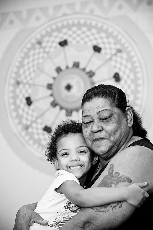 A girl with her grandmother photographed at the Children's Floating Hospital in Boston, MA. Flashes of Hope's arranges photo shoots for children with life threatening diseases to help them accept physical changes and to serve as a keepsake from a difficult time.